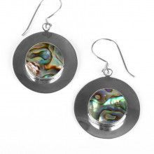 Abalone & Silver Circle Earrings