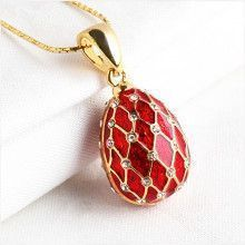 Red Gold Trellis Faberge Egg Pendant