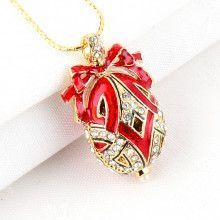 Holiday Red Faberge Egg Pendant