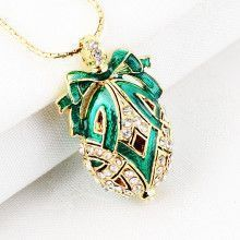 Holiday Green Faberge Egg Pendant