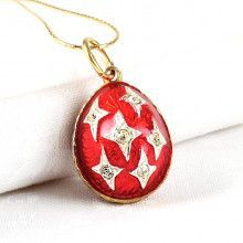 Red Faberge Style Egg Pendant