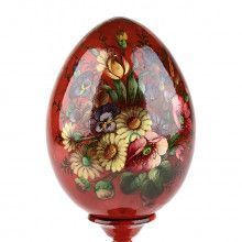 Decorative Floral Wooden Egg