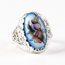 Blue Floral Finift Enamel Ring
