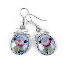 Blue Russian Finift Flower Earrings