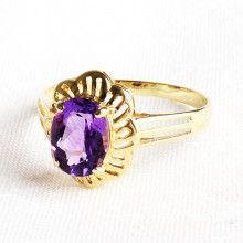 Amethyst Ring with 14K Gold