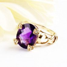 Amethyst Heart Ring - 14K Gold