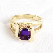 Amethyst in Bold 14K Gold Ring