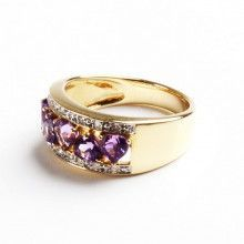 Amethyst Hearts & Diamonds Ring