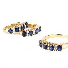 Blue Sapphire Ring & Earrings Set