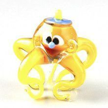 Cute Yellow Octopus Glass Figurine