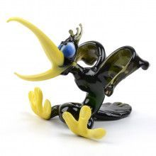 Funny Hollering Crow Glass Figurine