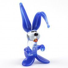 Small Blue Bunny Glass Figurine