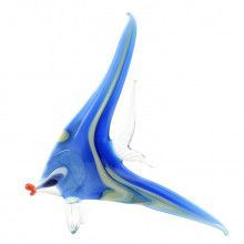 Bright Blue Angel Fish Glass Figurine