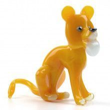Yellow Cartoon Tiger Glass Figurine