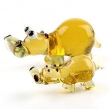 Mother Hippo with Baby Glass Figurines