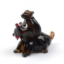 Cute Puppy Glass Figurine