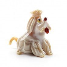 Cute Begging Dog Glass Figurine