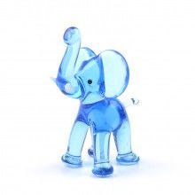 Miniature Blue Elephant Glass Figurine