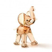 Miniature Pink Elephant Glass Figurine