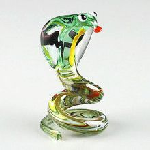 Multi-Colored Cobra Glass Figurine