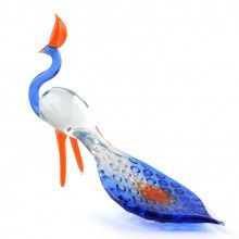 Blue Peacock Glass Figurine