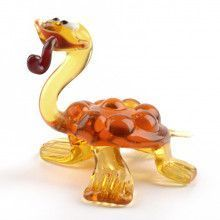 Comical Turtle with Pipe Glass Figurine