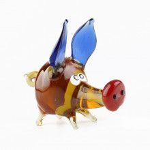 Wild Pig Glass Figurine