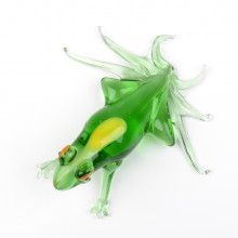 Green Frog Glass Figurine