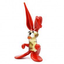 Red Easter Bunny Glass Figurine