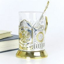 Russian Crest Gold Plated Tea Glass Holder Set