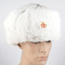 White Real Fur Ushanka with Soviet Hat Emblem