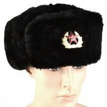 Black Soviet Shapka Ushanka Hat