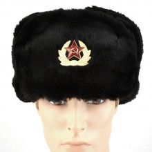 Faux Fur Military Ushanka Hat with Soviet Emblem