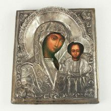 Antique Mary And Jesus Riza Icon