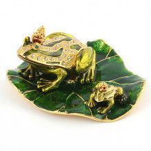 Two Frogs on Lily Pad Trinket Box