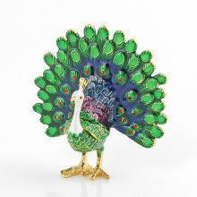 Blue and Green Peacock Trinket Box