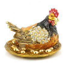 Mother Chicken with Nest Eggs Trinket Box