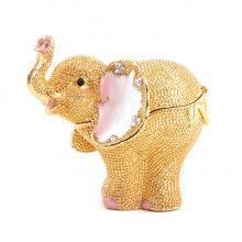 Golden Jeweled Elephant Trinket Box