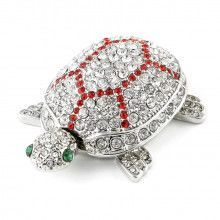Silver Bejewelled Turtle Hinged Box