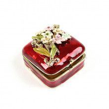Mini Red Trinket Box with Flowers