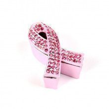 Pink Crystals Cancer Awareness Ribbon Box