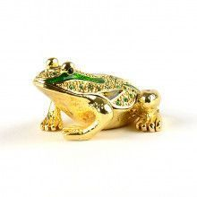 Small Green & Gold Frog Trinket Box