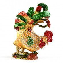 Fancy Colorful Rooster Trinket Box