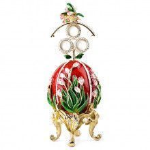 Tulips of the Valley Faberge Style Red Egg