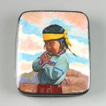 Portrait Of Native American Boy Lacquer Box