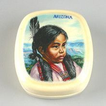 Portrait Of Native American Girl Lacquer Box