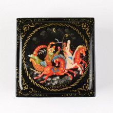 Russian Troika Square Lacquer Box