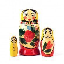 Red Roses 3 Pcs. Set Nesting Doll