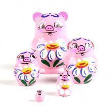 "1 1/4"" Tiny Pink Piggy Stacking Doll"