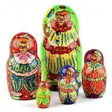 Green Smiley Clown Stacking Doll